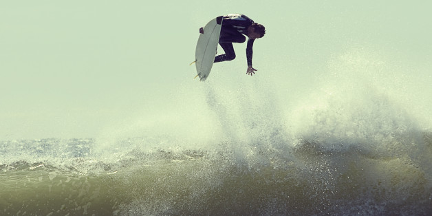 Surfer in mid-air